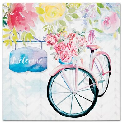 Obraz na plátne Bicycle with roses, 28 x 28 cm