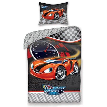 Detské bavlnené obliečky Fast Wheel Club auto, 140 x 200 cm, 70 x 90 cm