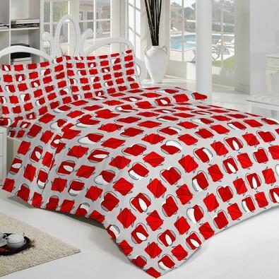 Pościel z kory Squares czerwony, 240 x 240 cm, 2x 70 x 90 cm