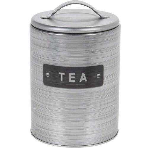 Plechová dóza na čaj, stříbrná