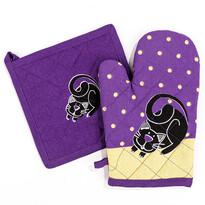 Set de bucătărie, mănușă și suport, Pisică violet