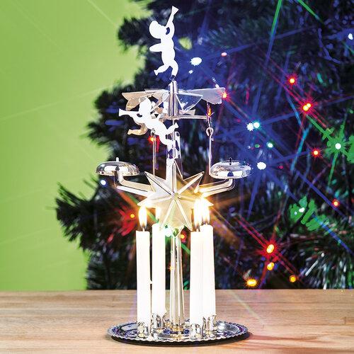 Ruchoma dekoracja, świecznik z dzwonkami DE Luxe srebrny