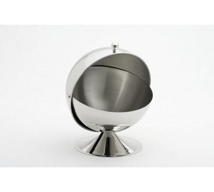 Nerezová cukřenka ve tvaru koule, stříbrná, 13 cm