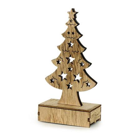 Pom de Crăciun Granville, din lemn, 6 LED