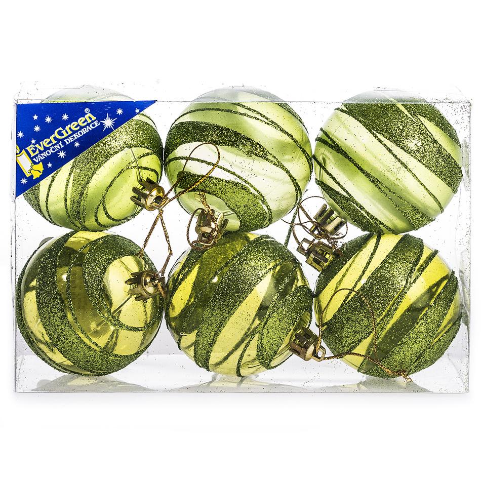 HTH Vánoční koule s pruhy 6 ks zelená pr. 6 cm