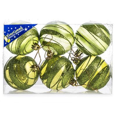 Vánoční koule s pruhy 6 ks, zelená