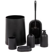 Kúpeľňový a wc set čierna, 7 ks