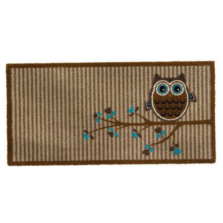 Wewnętrzna wycieraczka Owl on tree beige,40x80 cm