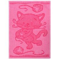 Detský uterák Cat pink, 30 x 50 cm