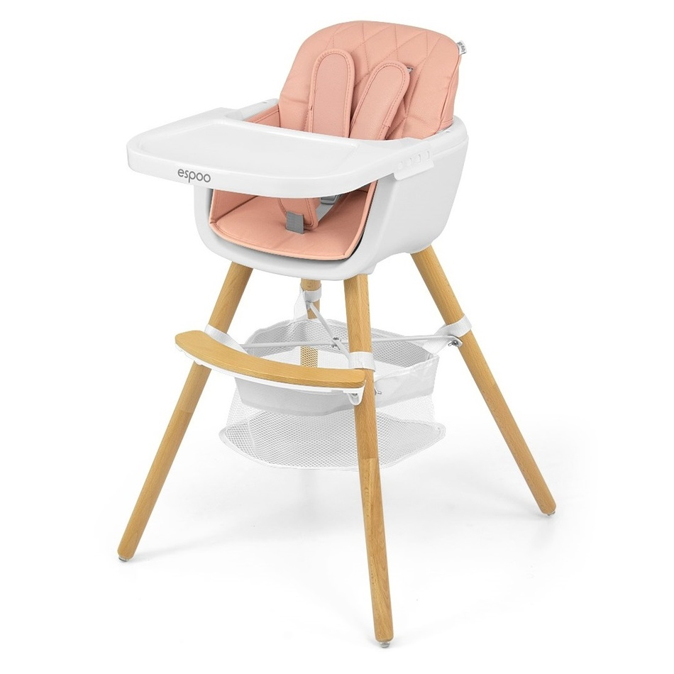 Milly Mally Jedálenská stolička 2v1 Espoo ružová, 83,5 x 52 x 52 cm