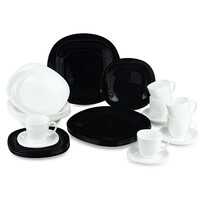 Luminarc 30-częściowy serwis obiadowy Carine, czarno-biały