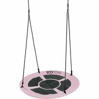 Ecotoys Detský hojdací kruh Bocianie hniezdo sv. růžová, pr. 100 cm