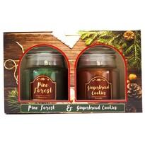 Illatos gyertya szett Pine Forest and Gingerbread cookies, 2 db