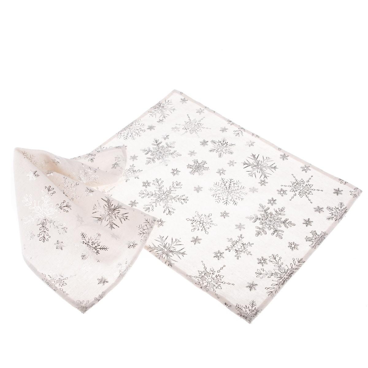 Dakls Vánoční prostírání Vločka stříbrná, 32 x 45 cm, sada 2 ks