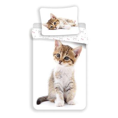 """Bawełniana pościel dziecięca Jerry Fabrics """"Kotek White"""", 140 x 200 cm, 70 x 90 cm"""