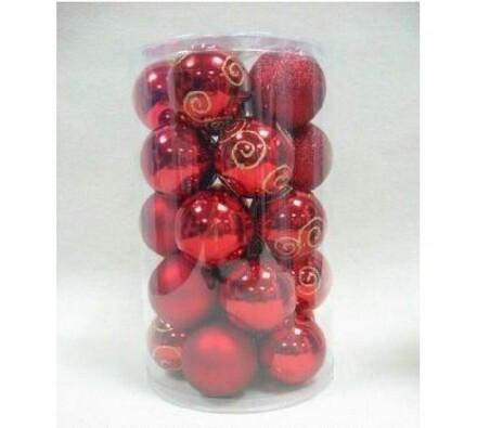 Sada 25 nerozbitných ozdob, červená, červená, pr. 6 cm