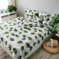 Lenjerie de pat din bumbac Frunze, verde, 140 x 200 cm, 70 x 90 cm, 40 x 40 cm