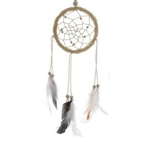 Lapač snů Beads béžová, 32 cm
