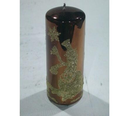 Vánoční svíčka hnědá, 6 x 14 cm