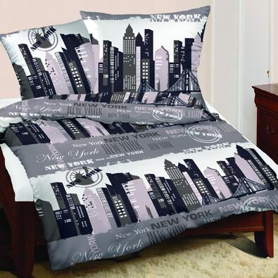 Saténové povlečení New York šedá, 220 x 200 cm, 2 ks 70 x 80 cm