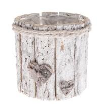 Drewniana osłonka na doniczką Serce, biały 15 x 15 x 15 cm