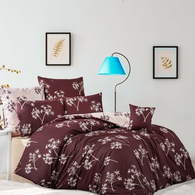 Bavlnené obliečky Idil burgundová, 140 x 200 cm, 70 x 90 cm