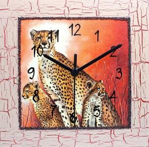 Nástěnné hodiny gepardí rodinka