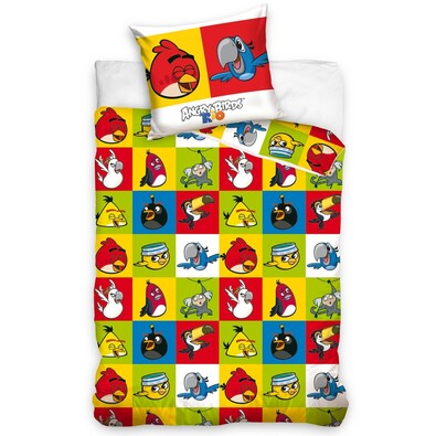 Dětské bavlněné povlečení Angry Birds Šachovnice, 140 x 200 cm, 70 x 80 cm