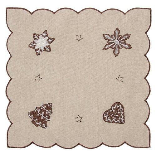 Forbyt Vánoční ubrus Perníčky béžová, 35 x 35 cm, 35 x 35 cm