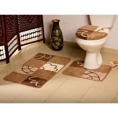 Koupelnové předložky Borneo hnědá, sada 3 ks