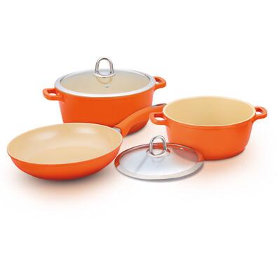 Lamart 5dílná sada keramického nádobí oranžová