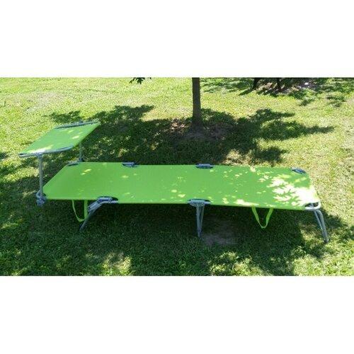 Składany leżak plażowy, ogrodowy z daszkiem Palm, zielony