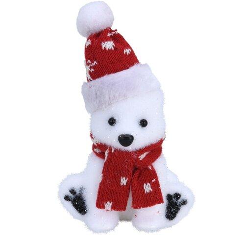 Plastová dekorace Polar bear červená, 10 x 7,5 x 17 cm