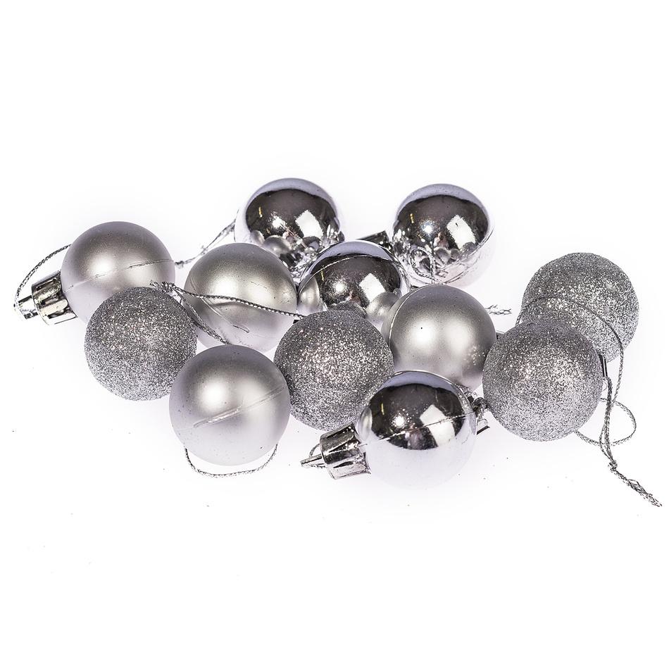HTH Vánoční koule 12 ks stříbrná pr. 3 cm