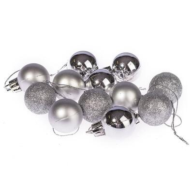 Vánoční koule 12 ks, stříbrná