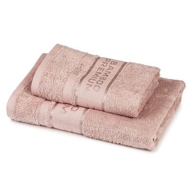 4Home Sada Bamboo Premium osuška a uterák ružová, 70 x 140 cm, 50 x 100 cm