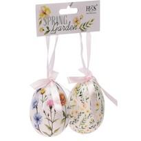 Húsvéti felfüggeszthető dekoráció Floral Eggs 2 db, fehér