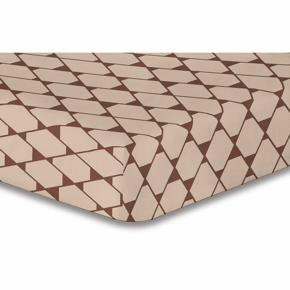 DecoKing Prostěradlo Rhombuses hnědá S1, 160 x 200 cm