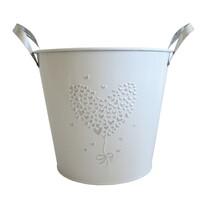 StarDeco Plechový květináč bílá, 18,5 cm