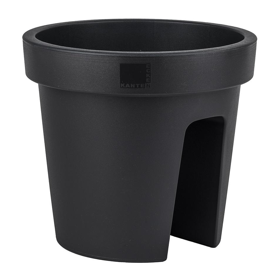 Plastový květináč na zábradlí Dia, černá