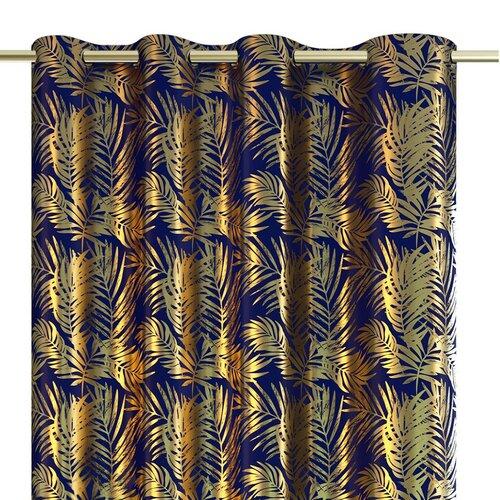 AmeliaHome Draperie Velvet golden Leaves indigo, 140 x 245 cm
