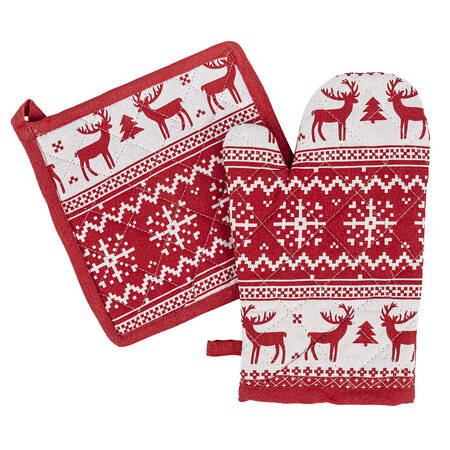 Vánoční sada chňapka a podložka Sob červená