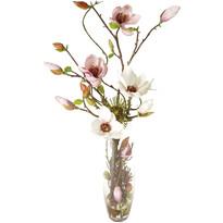 Magnólia művirág üvegvázában, 71 cm