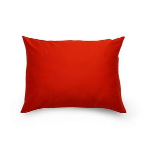 Povlak na polštář satén červená / smetanová, 70 x 90 cm