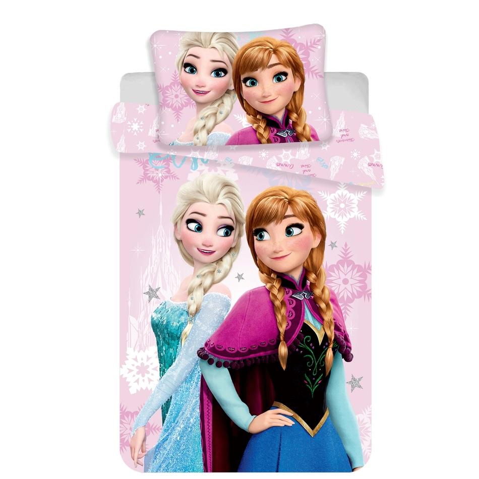 Jerry Fabrics Dětské bavlněné povlečení Ledové Království Frozen baby pink, 140 x 200 cm, 70 x 90 cm