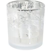 Świecznik na świeczkę tealight Ośnieżony las, biały, 7 x 8 cm
