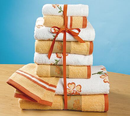 Froté ručníky s bordurou, bílá + oranžová