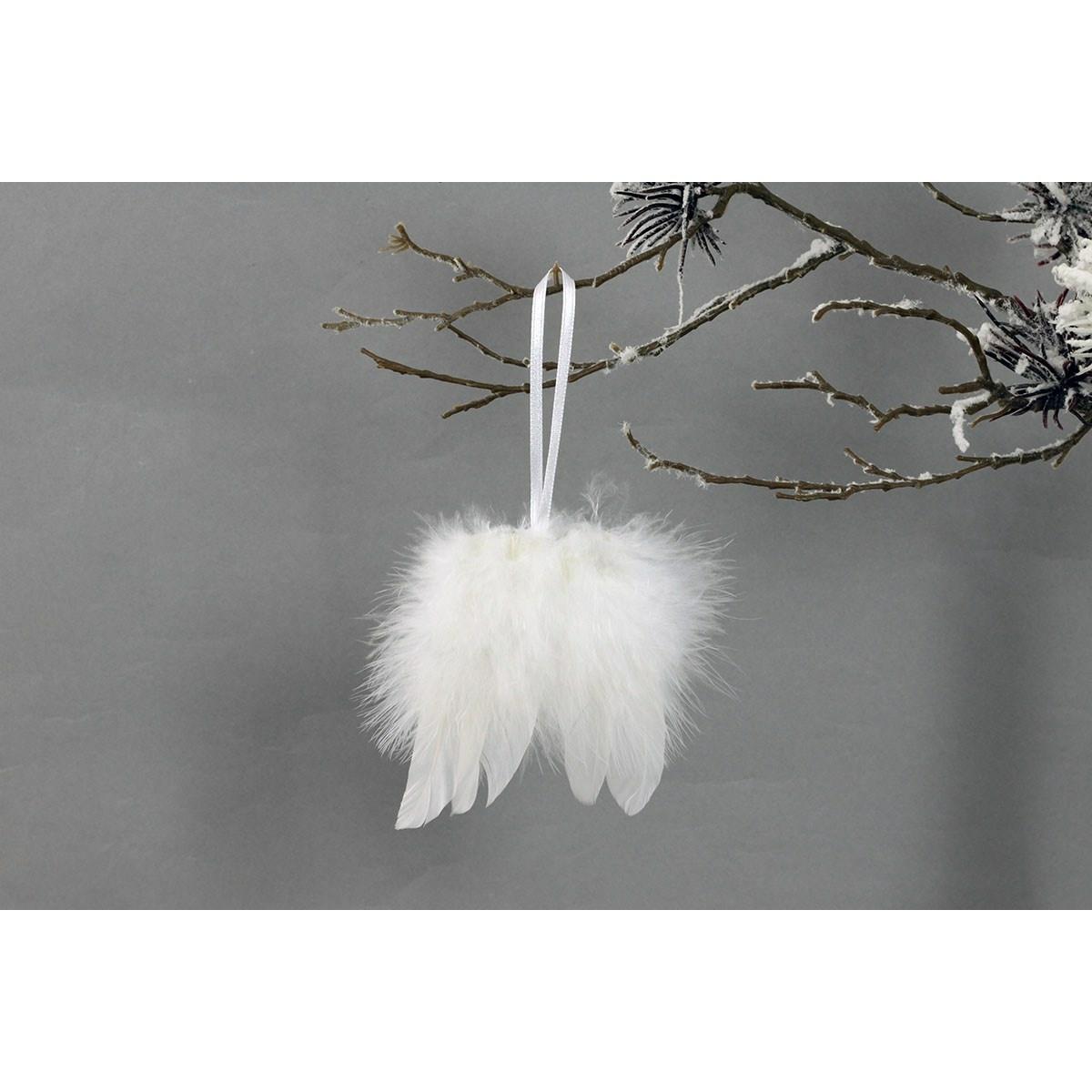 Sada vianočných ozdôb Anjelské krídla 12 ks, biela