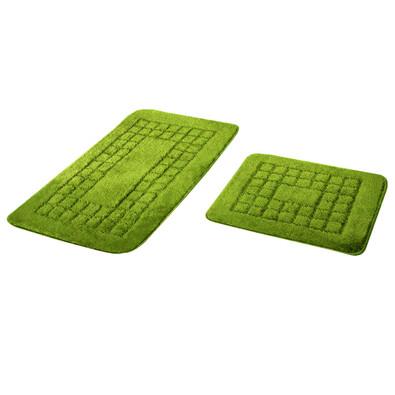 Sada koupelnových předložek Pearl zelená, 80 x 50 cm, 50 x 40 cm