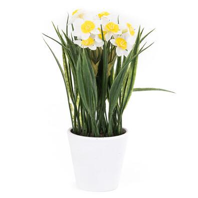 Umělá květina narcis bílá
